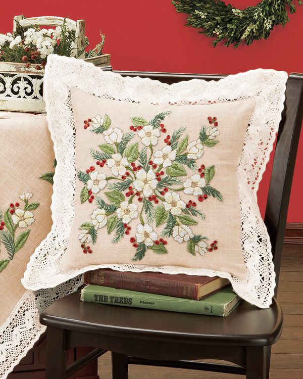 Tyynynpäällinen Jouluruusu langat mukana