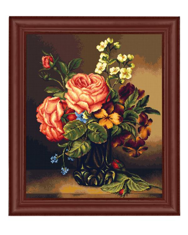 Broderikit Tavla Vas med blommor