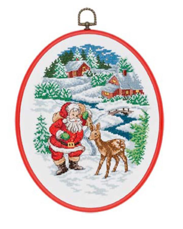 Muovikehystaulu Joulupukki ja metsäkauris