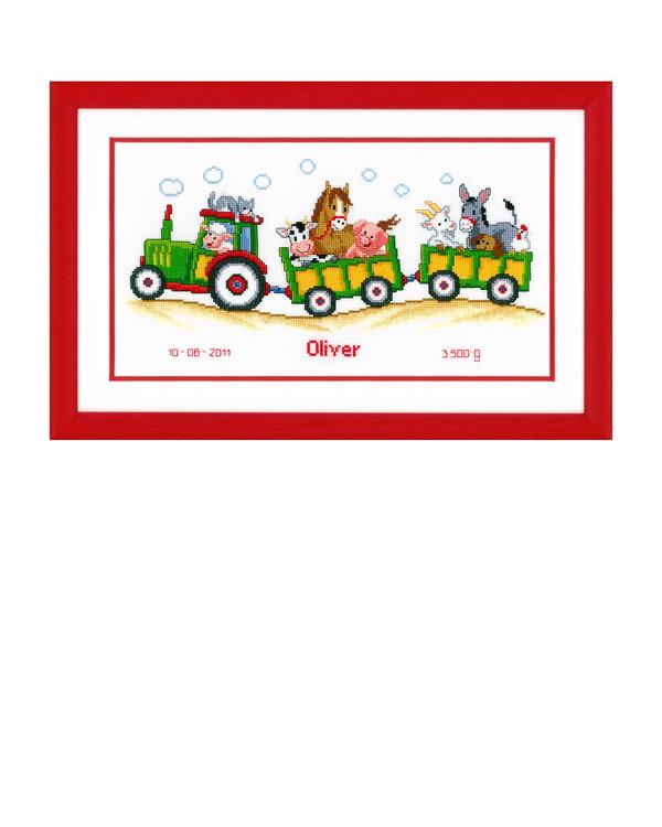 Broderipakke Bilde Traktor med dyr