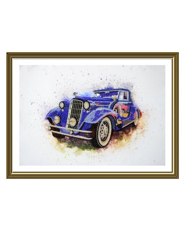 Perlebroderi Rolls Royce Blå