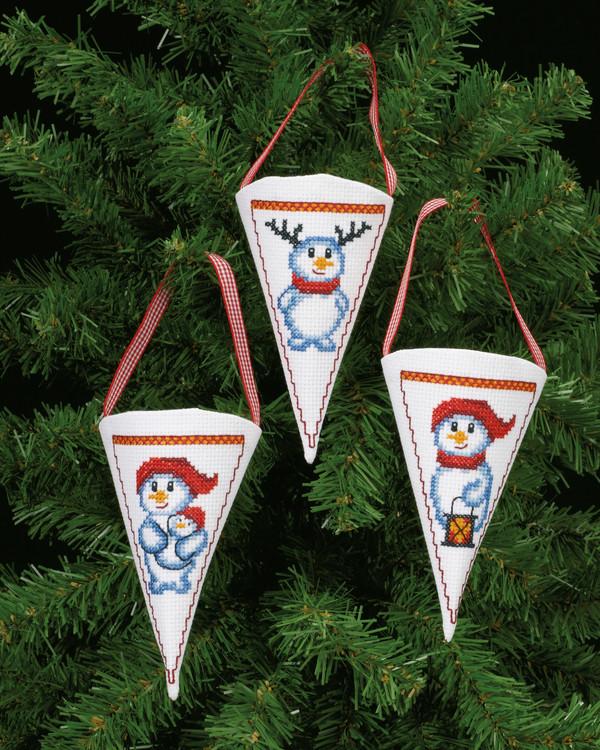 Julekurver Snømenn 3-pk