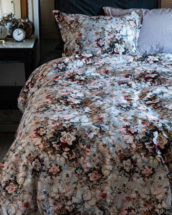 Påslakanset Satin Rusted floral  King Size 3 delar