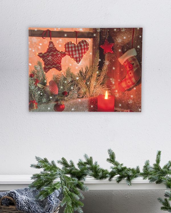 Jultavla med LED belysning Hjärtan