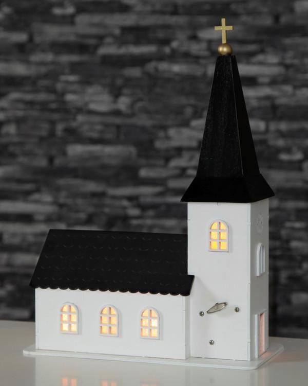 Kirche aus Holz mit Spieldose