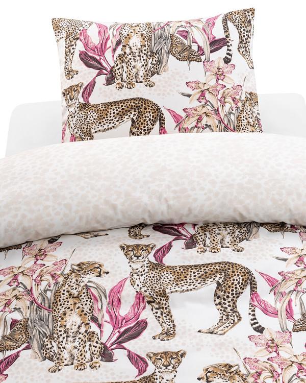 Pussilakanasetti Cheetah roosa 2 osaa
