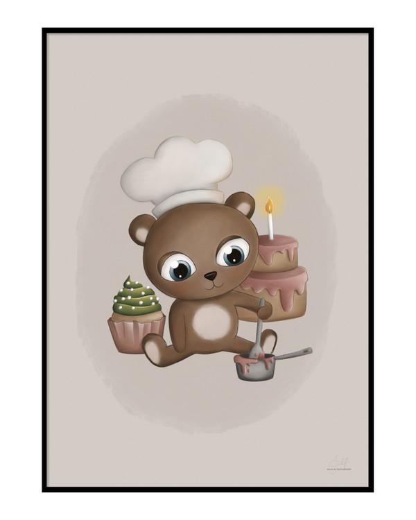 Baking baby bear Poster